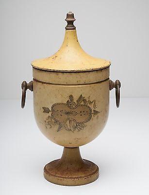 A Vintage Painted Toleware Twin Handled Chestnut Urn/Vase