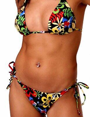 Damen Triangel Neckholder Bikini Badeanzug multicolor bunt Pailletten Perlen 36 - Perlen Bikini-badeanzug