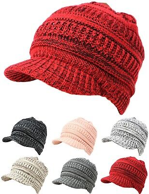 Unisex Winter Visor Beanie Knit Hat Cap Fur Lined Crochet Men Women Thick (Warm Winter Visor Cap)