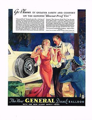 1930s BIG Vintage General Tire Man Woman Dress Fashion Art Print Ad