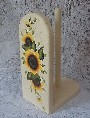 hand painted paper towel holder sunflowers new
