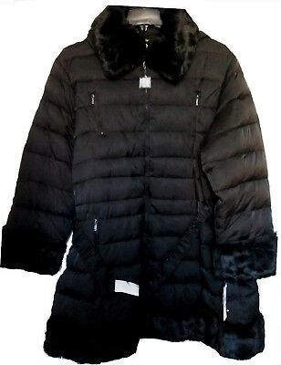 LAUNDRY, SHELLI SEGAL BLACK DOWN HOODED COAT/JACKET- FAUX-FUR-TRIM PARKA 3X