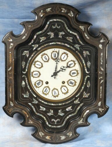 French Antique Mother-of-Pearl Inlay Morbier Wall Clock 19th Century