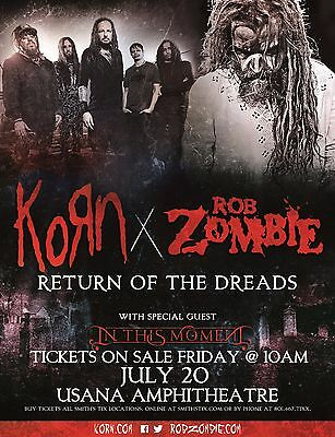 "KORN/ROB ZOMBIE ""RETURN OF THE DREADS"" 2016 SALT LAKE CONCERT TOUR POSTER- Metal"