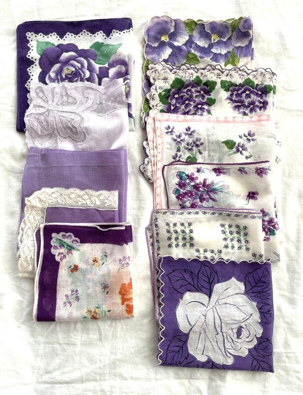 VTG HANDKERCHIEF HANKIES Lot of 11 Lavender Purple Floral Solid Scallop NICE!