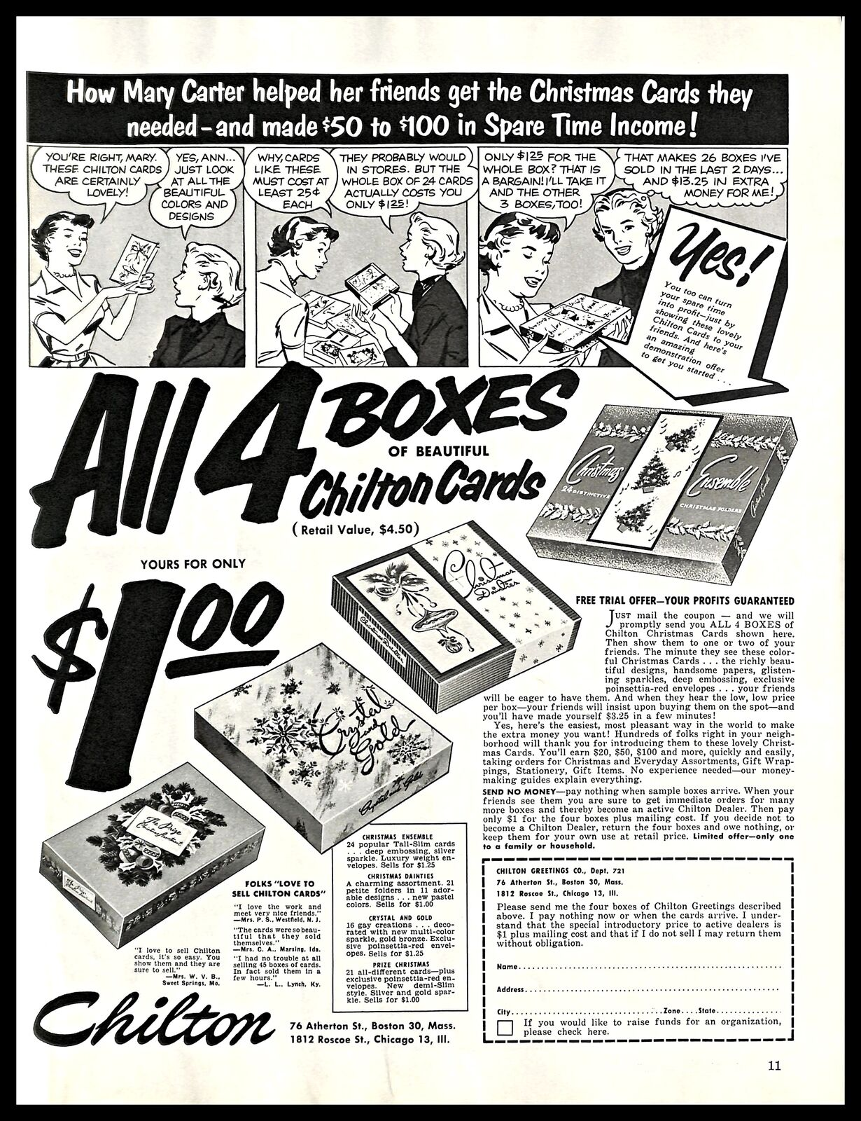 1956 Chilton Christmas Cards Vintage PRINT AD Comic Strip Free Trial ...