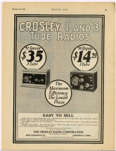 1925 Crosley Radio Co. Ad: 50 Regular & 52 Special Model Pics - Cincinnati, Ohio