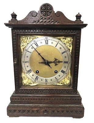 WINTERHALDER HOFFMEIER W & H Antique Oak Bracket Mantel Clock SERVICED