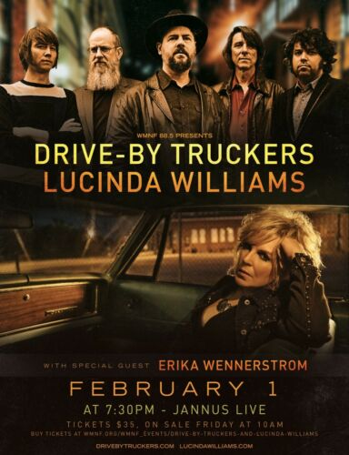 DRIVE-BY TRUCKERS / LUCINDA WILLIAMS 2019 TAMPA CONCERT TOUR POSTER-Country Rock