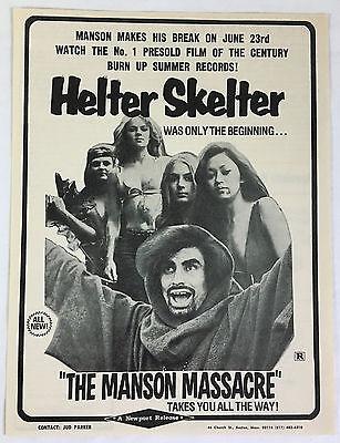 1976 Newport movie trade ad page ~ Helter Skelter CHARLES MANSON MASSACRE