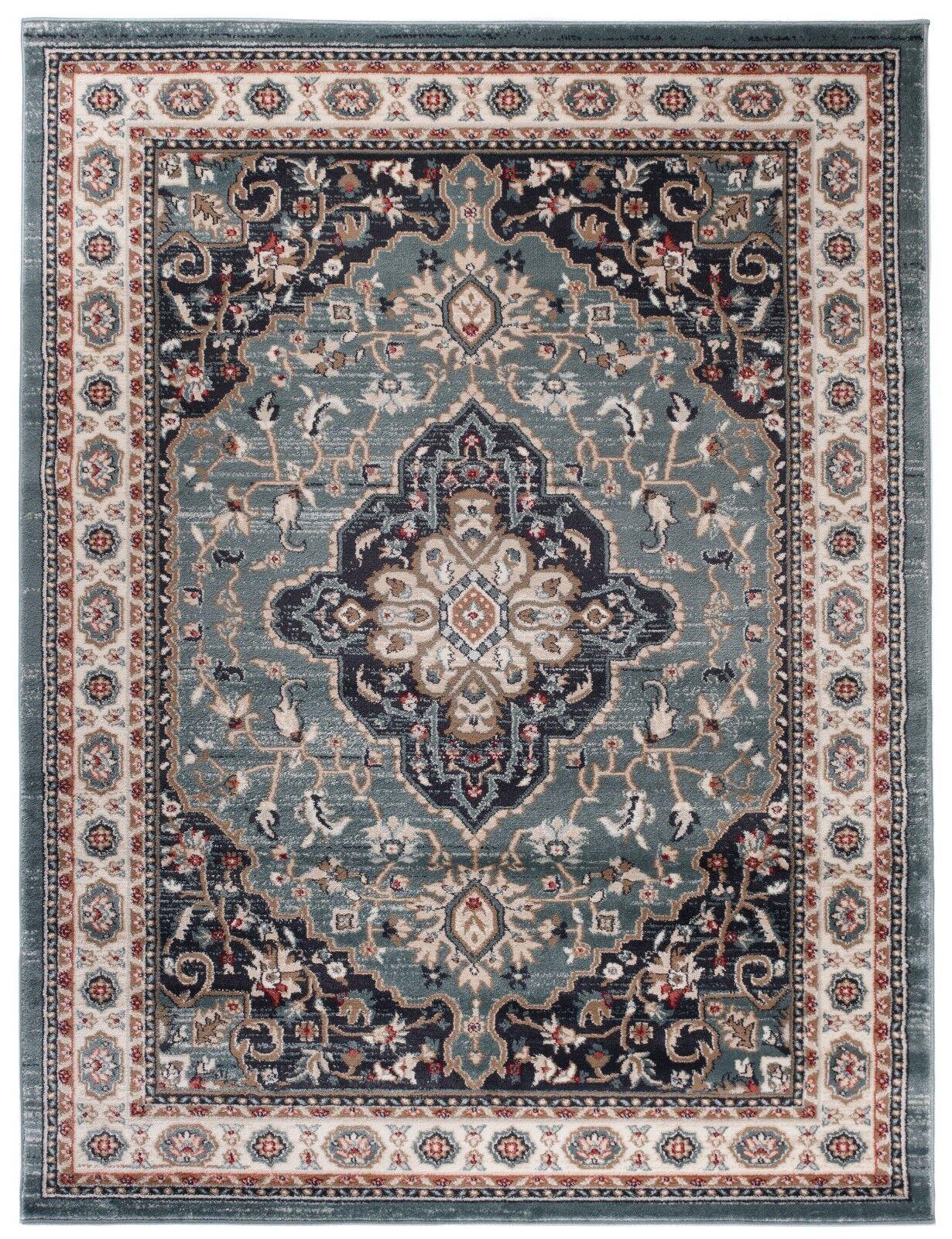 Traditional Klassischer Orientteppich Perser Vintage Teppiche Türkis Blau Beige
