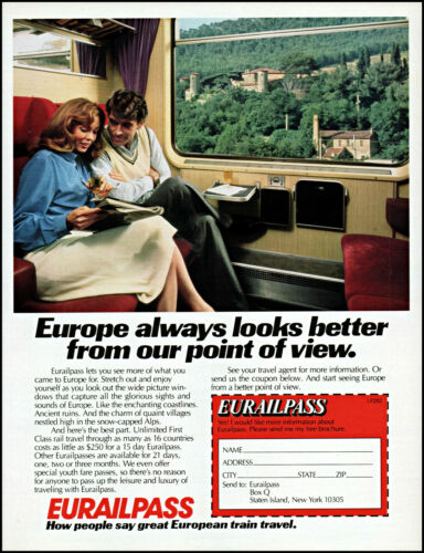 1982 Eurailpass Europe Train Swiss village Alps Couple retro photo print ad  L5