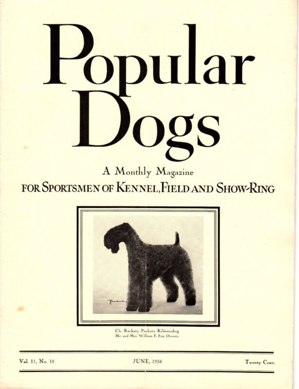 Vintage Popular Dogs Magazine June 1938 Kerry Blue Terrier Cover