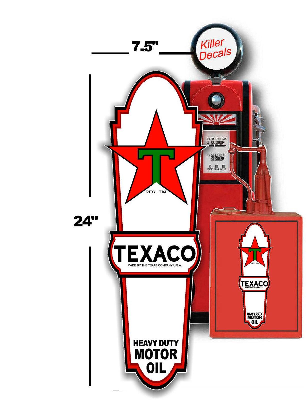 "3/"" PRE WAR TEXACO GASOLINE GAS PUMP SIGN TANK DECAL TEXA-8"