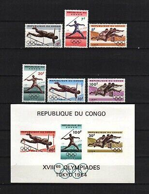 Belgisch Congo Belge Rep. Congo n° 545/50 + BL14 MNH Olympic Games 1964 c17.60Eu