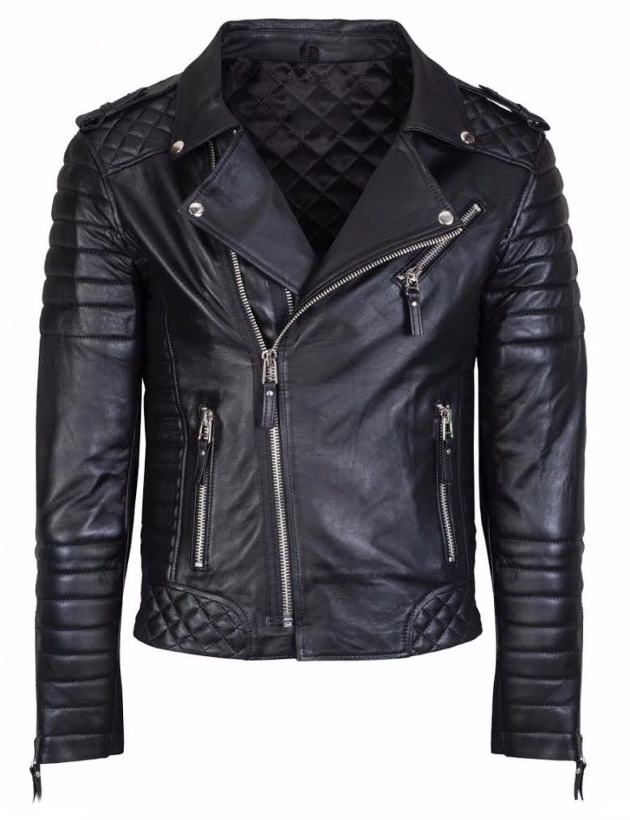 Mens Genuine Leather Jacket Slim Fit Real Biker New Fashion Vintage