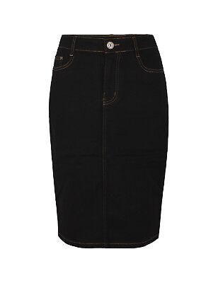 Damen Jeans Rock knielang Bleistift mittellang stretch blau schwarz neu - Lange Stretch-jeans-rock