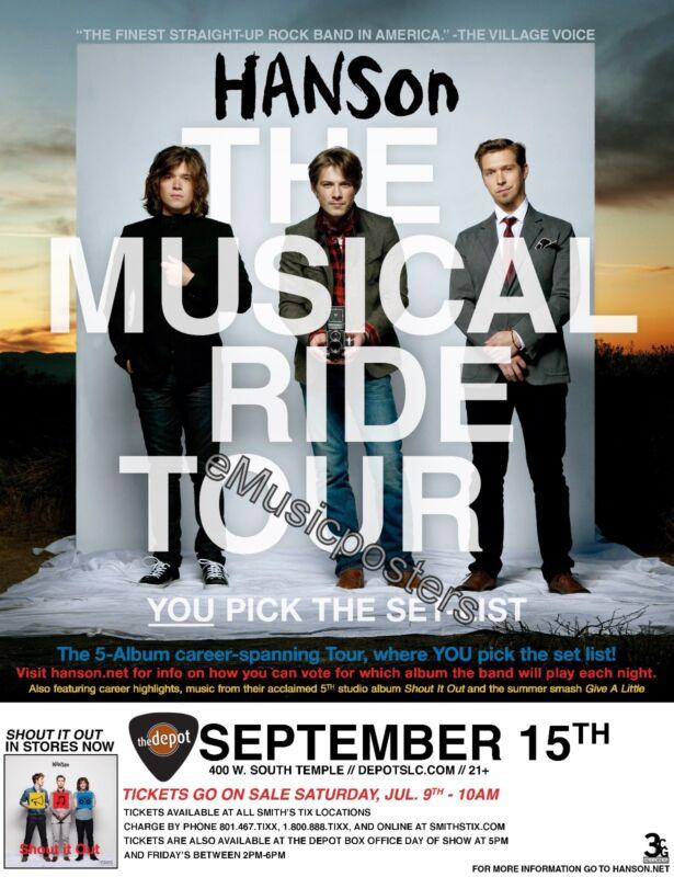 "HANSON ""THE MUSICAL RIDE TOUR"" 2011 SALT LAKE CITY CONCERT POSTER"