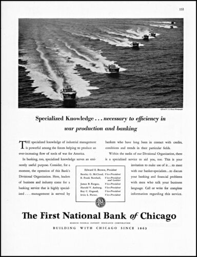 1942 WW2 U S Navy PT Boats First National Bank Chicago retro photo print ad L89
