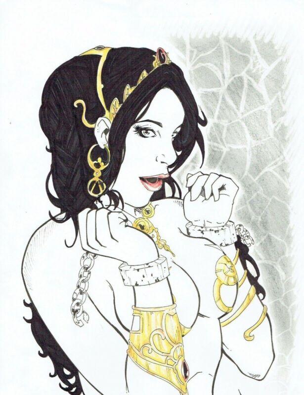 Dejah Thoris by Taciano- Original Comic Art Drawing Pinup John Carter 8.5x11