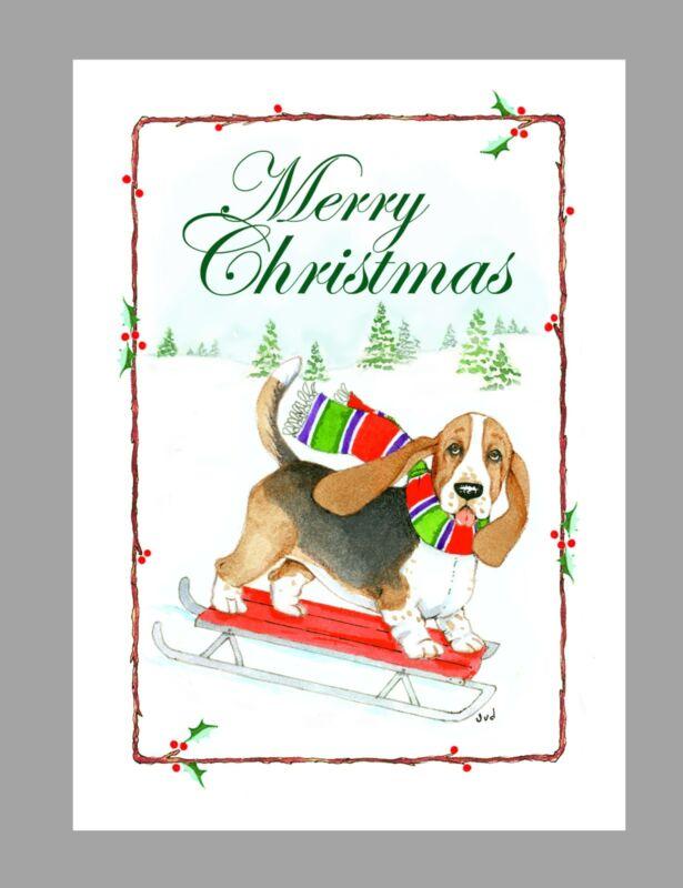 Basset Hound Dog Christmas Cards, Box of 16 Cards & 16 Envelopes