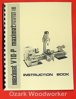 Emco Maximat V10-p Mentor 10 Metal Lathe Instruction Manual 0299