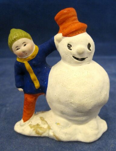 Wonderful OLD Christmas Winter Snowman & Sweet Child Red Hat Blue Coat  SHP