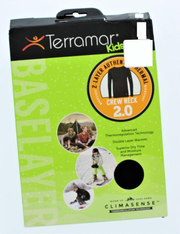 Terramar Kids 2 Layer Authentic Thermal Crew Neck Sz Small Black