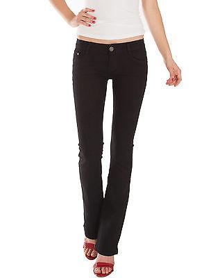 Damen Jeans Hosen bootcut low waist Hüftjeans Damenjeans stretch schwarz Neu Low Stretch Bootcut Jeans