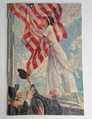 Antique Wooden Jigsaw Puzzle Pledge of Allegiance 271 pcs Patriotic WWI