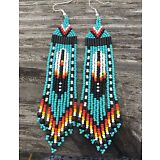 "Native American Style 4"" Turquoise Feather Beaded Earrings---ORIGINAL DESIGNER"