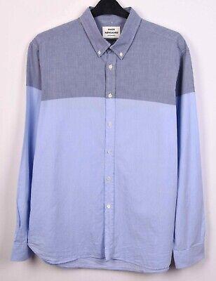 MADS NØRGAARD Men's 2XL Shirt Formal Cotton Casual Long Sleeved Blue Office Top