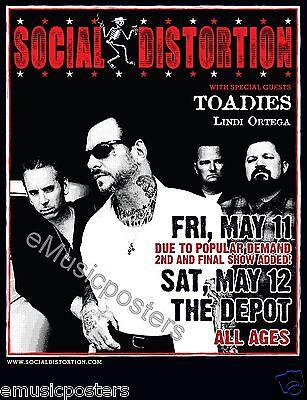 SOCIAL DISTORTION / TOADIES  2012 SALT LAKE CITY CONCERT TOUR POSTER - Mike Ness