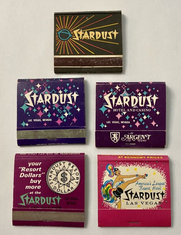 Lot Of 5 Vintage 30 Strike Matchbooks 4 Covers 1 Full 5 Different STARDUST HOTEL