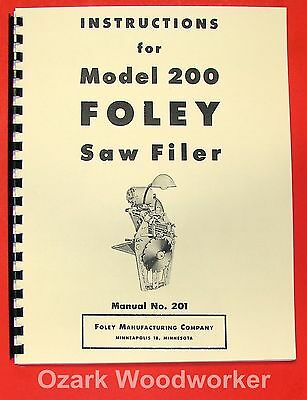 Foley 200 Saw Filer Operators And Parts Manual 0932