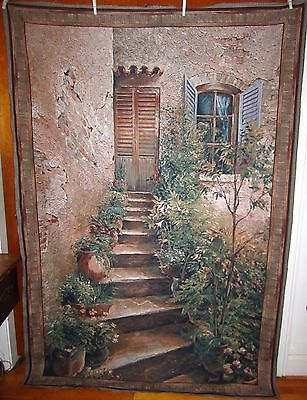 "Stairway in Provence Tapestry Grande Derange Hanging Fabric Piece 76"" x 56"""