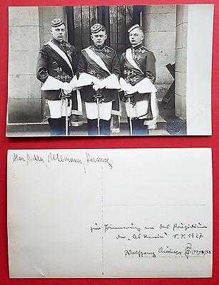 Studentika Foto AK CHEMNITZ 1927 3 Studenten in Uniform mit Degen    ( 18590