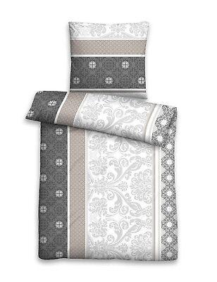 Fein Biber Baumwolle Bettwäsche 2 tlg 135x200 RV Ornamente schwarz grau braun