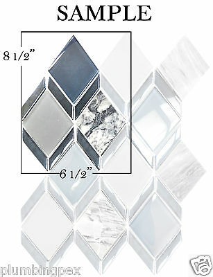 (*SAMPLE Diamond Blue Grey Glass & White Carrara Marble Kitchen Bath Mosaic Tile)