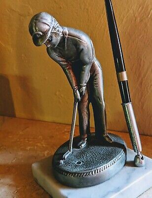 Stunning Golf Executive Pewter Pen Holder Desk Set