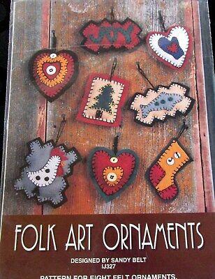 Indygo Junction Folk Art Christmas felt applique ornament craft pattern  Felt Ornaments Patterns