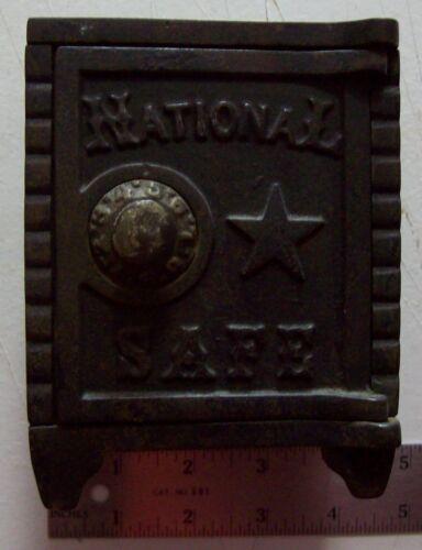 VINTAGE CAST IRON NATIONAL SAFE BANK.  ORIGINAL PATINA, AND VERY NICE.