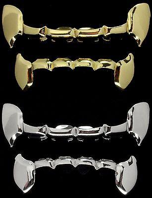 4 pc Half Fangs Gold & Silver Tone Custom Fit Combo Set Top Bottom Grillz - Fangs Gold Teeth