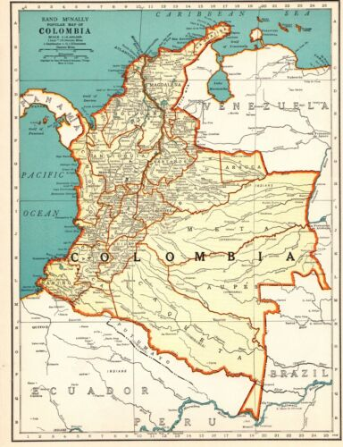 1938 Antique Map of COLOMBIA Map South America Map Gallery Wall Art 8487