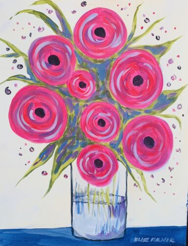 Painting On Canvas Vase With Flowers  - $5.00