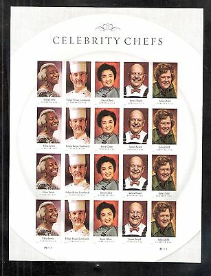 2014 4922-4926 IMPERF CELEBRITY CHEFS PANE OF 20  W/O DIE CUTS MNH