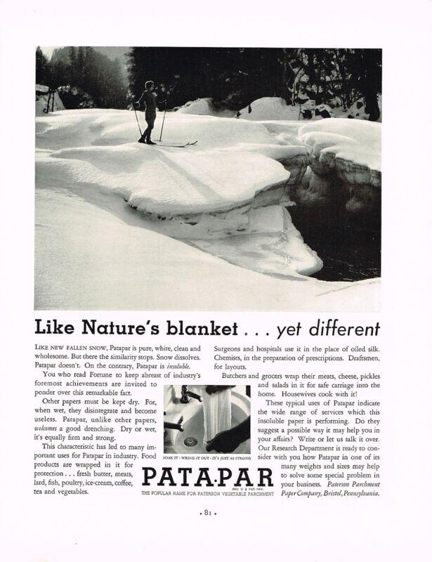1930s BIG Vintage Patapar Parchment Paper Ski Skiing Skier Winter Photo Print Ad