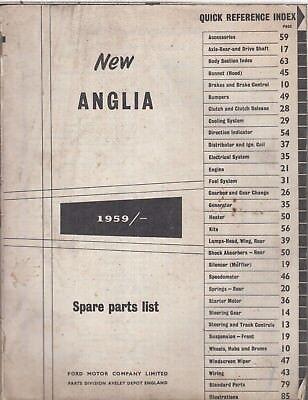 FORD ANGLIA SALOON ESTATE & VAN ORIGINAL 1959 FACTORY PARTS CATALOGUE