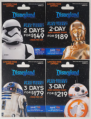 4 Different DISNEYLAND STAR WARS: The Force Awakens Passport Gift Cards 2016 MOC
