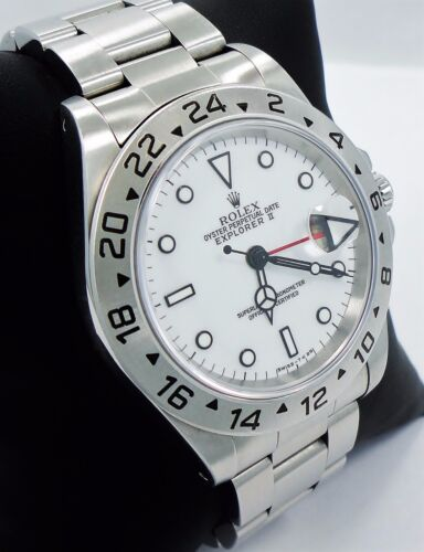 Rolex Explorer II 16570 GMT Stainless Steel Date White Dial Men